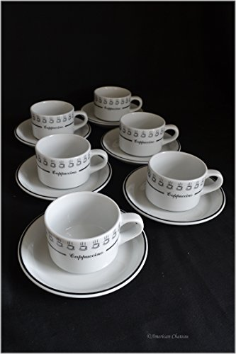 (Set 6 Short White & Black Cappuccino 6oz Italian-Cafe Coffee Cups & Saucers)