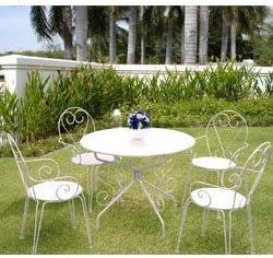Inconnu Salon de Jardin métal Blanc : 1 Table Ronde + 4 ...