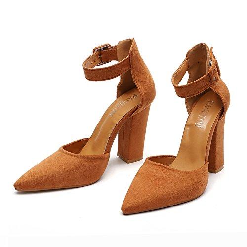 avec Taille épais Chaussures Grande Pointu des de à Chaussures Sandals Brown xie Hauts Mouth Femmes Talons Suede Shallow Fashion des xYRSWBq