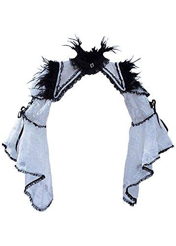 Blanches Dentelles Élégant Boléro Plumes Gothique bl Noir Avec Rqbl Noires En Rq tx6Iq85