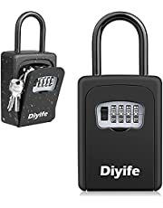 Key Lock Box, [Heavy Duty Large Capacity] [Hang Up & Wall Mount] Diyife Outdoor Lock Box for Keys with Removable Shackle Portable Combination Key Safe for Home Garage School Airbnb Office
