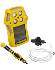 BW Technologies QT-XWHM-A-Y-NA GasAlertQuattro 4-Gas Detector with Alkaline Battery, Combustible, O2, H2S and CO, Yellow