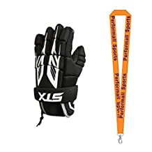 STX Bundle: Stinger Lacrosse Gloves 6 Inch Black + 1 Performall Sports Lanyard