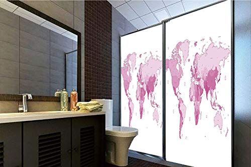 No Glue Static Cling Glass Sticker,Light Pink,Cute World Map Continents Island Land Pacific Atlas Europe America Africa Decorative,White Light Pink,39.37