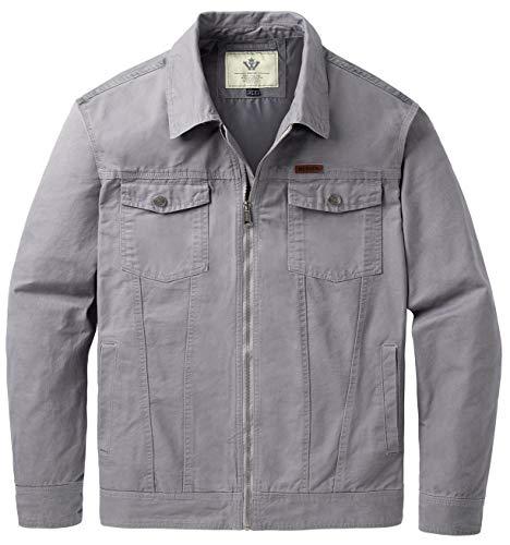 (WenVen Men's Versatile Full Zip Spring Cotton Jackets(Light Grey,XL))