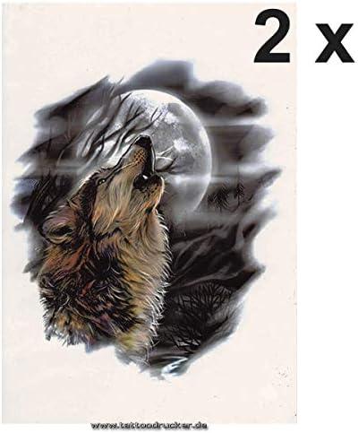 Tatuaje Temporal con Forma de Lobo de heno, Tatuaje de Luna y ...