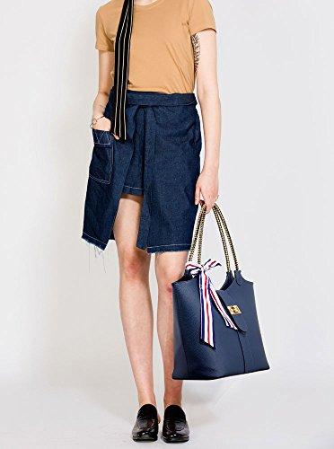 ANNA GRACE - Bolso de tela de piel sintética para mujer Design 1 - Navy