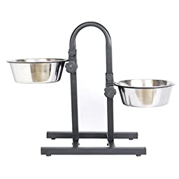 Iconic Pet Adjustable Stainless Steel U Design Pet Double Diner for Dog, 5 quart/160 oz.