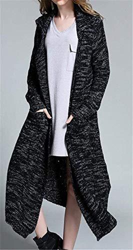 Elegante Colore Calda Outerwear Termico Grazioso Vita Autunno Donna Stlie Manica Comodo Giacca Schwarz Maglia Cardigan Alta Fashion Lunga Invernali Cappotto Puro Tasche Con A qnqHZw1tR