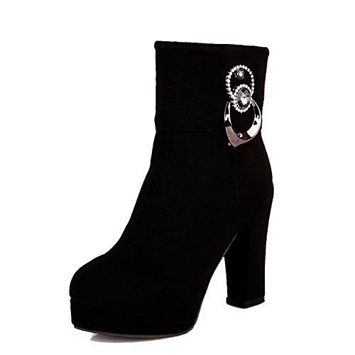 AgooLar Damen Hoher Absatz Rein Rund Zehe Ziehen auf Stiefel mit Metalldekoration, Schwarz, 36