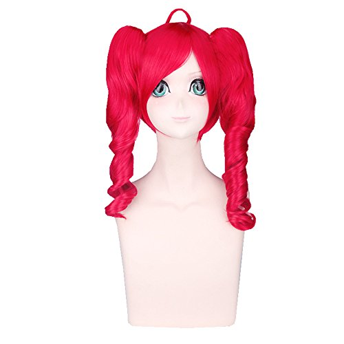 Mens Red Ponytail Wig (S-ssoy 55cm Women's Heat-Resistant Bangs Long Curly/Wavy Red Color Full Wigs hairpieces Japanese Anime Lolita Style Cosplay Hair For Party/Costume With Two Ponytails)