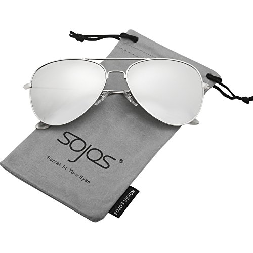 SojoS Classic Aviator Polarized Sunglasses Mirrored UV400 Lens SJ1054 With Silver Frame/Silver Mirrored - Sunglasses Polarized Mirrored