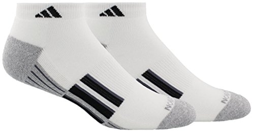 adidas Mens Climalite X II Low Cut Socks (2-Pack), White/Heather Light Onix/Black/Onix, Size 6-12