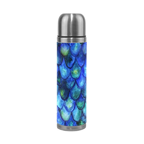 ALAZA Fish Scales Thermos Water Bottle Vacuum Insulated Stai
