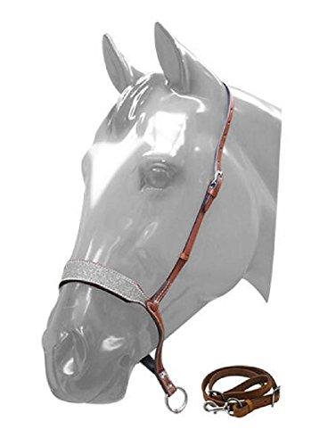 - Showman Horse Silver Glitter Overlay Leather Barrel Racing Tie Down Noseband