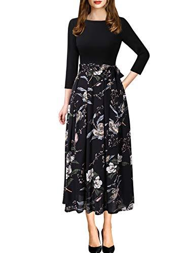 VFSHOW Womens Elegant Patchwork Pockets Print Work Casual A-Line Midi Dress 1283 BLK S
