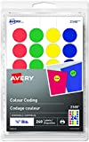 "Avery Removable Colour Coding Round Labels, 3/4"" Diameter, Assorted Blue, Green, Red, and Yellow Dots, Pack of 240 Labels (2348)"