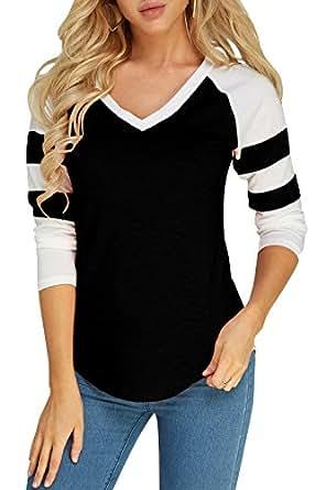 Amazon.com  Foshow Womens Long Sleeve Raglan Baseball Tee Jersey ... 963409bea