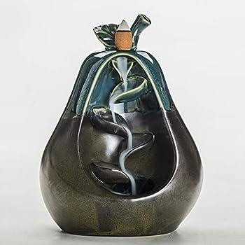 Smoke Backflow Incense Burner Ceramic Censer Smell Removing Aroma Furnace for Living Room (Blue-pear)