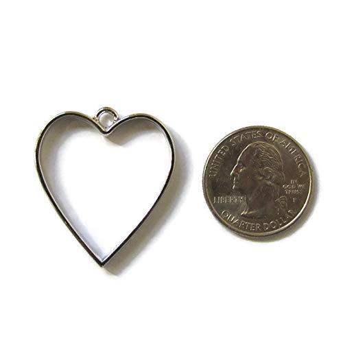 - 5 Silver Heart Open Bezels for Resin, Open Back Bezel Pendant Blanks for Jewelry Making