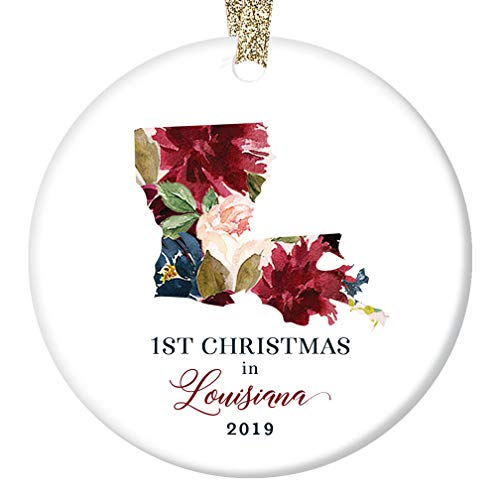 2019 Christmas Porcelain Collectible Ornament First 1st Holiday Season Moved to LOUISIANA Keepsake Present for Coworker Friend Family Pretty Flowers 3