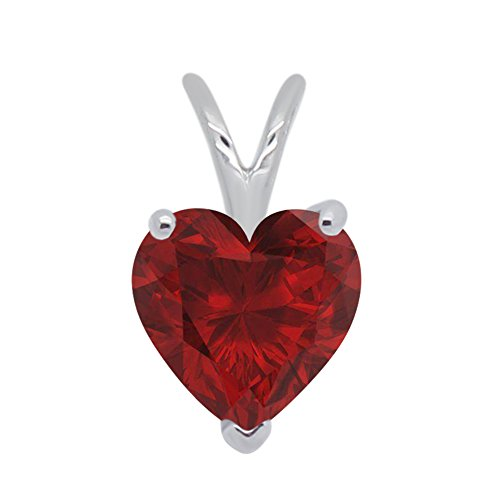1.00 Ct Heart Shape Lab-Created Red Ruby 925 Sterling Silver Solitaire Pendant Without Chain For Women's