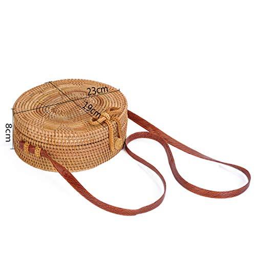 Women's Bag, Rattan Bag - Single Side - Sun Flower - Oval - Crossbody - Beach Bag Floral Lining - Hand-Woven Bag by BHM (Image #5)