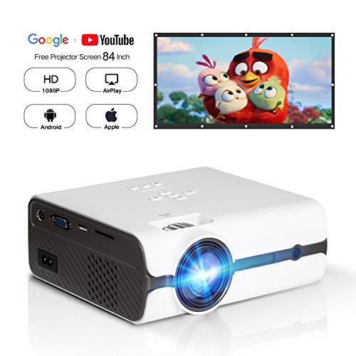HD 1080P Video Projector with Portable Screen 84