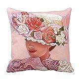 pillow perfect Decorative Cotton 18 X 18 Twin Sides Victorian Lady Art Pillowcases Floral Vintage Rose Hat