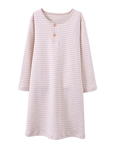 HOYMN Girls' Nightgowns & Sleep Shirts Cotton Sleepwear for Toddler 2-11 Years (4-5 Years, Stripe -
