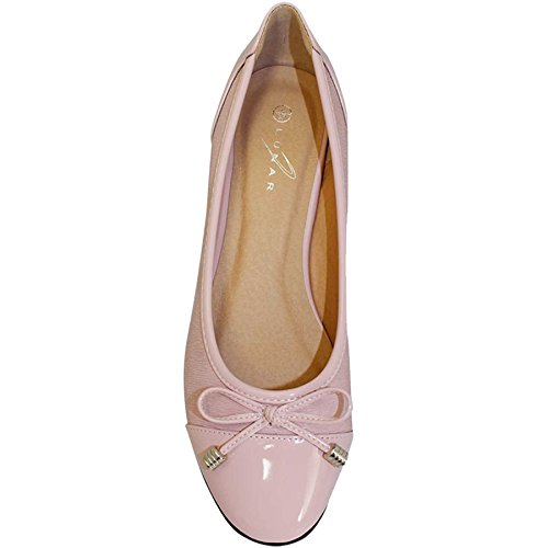 Pink ® Smart Pumps Shoes Patent Valencia BOUTIQUE FLC006 Dolly Bow Casual Ladies FANTASIA Accent Flats 6qC58v