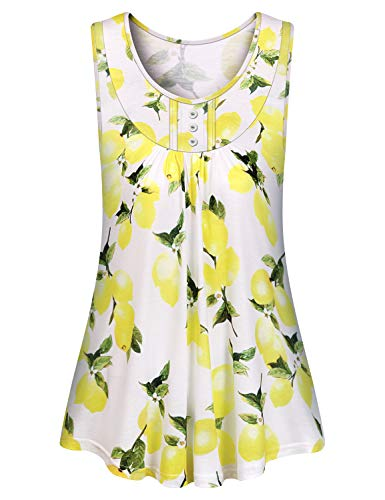 Tropical Knit Top - Luranee Ladies Tops, Sleeveless Dressy Tunic Tanks Sleeveless Casual Summer Blouses Elegant Tropical Pleated Front Knit Shirts Cute Cool Trendy Swimsuit Coverup Exquisite Yellow Beach Outfits 2XL
