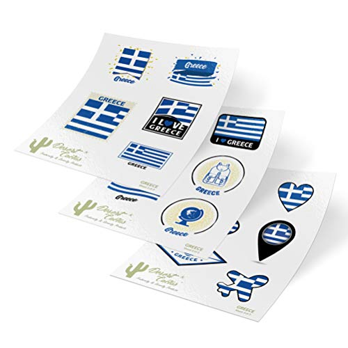 - Greece Country Flag Stickers Decals 3 Sheets 17 Total Pieces Kids Logo Scrapbook Car Vinyl Window Bumper Laptop 3 Sheets