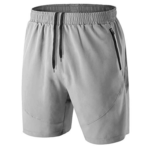 HMIYA Men's Sport Shorts Quick Dry Running Gym Casual Short Lightweight with Zip Pockets