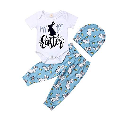 Leotards Animal Print (3PC Newborn Baby Girl Boy My First Resur Rection Letter Bunny Print Leotard Jumpsuit +Rabbit Pants Hat Easter Costume (Blue, 6-12 Months))
