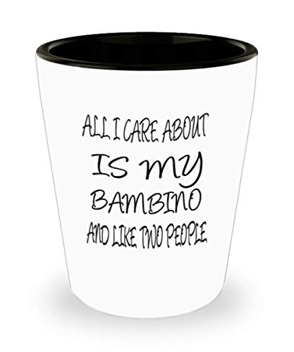 Bambino Gifts White Ceramic Shot Glass - All I Care About - For Mom and Dad Cup for Coffee or Tea Cats Lover ak7610