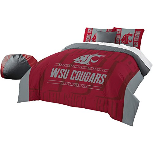 Officially Licensed NCAA Washington State Cougars Modern Take Full/Queen Comforter and 2 Sham (Washington State Comforter)