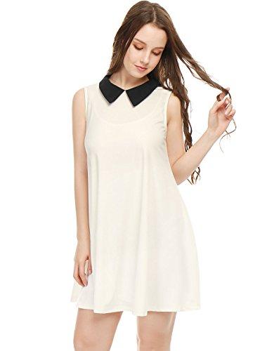 Allegra K Women's Contrast Color Peter Pan Collar Sleeveless Swing Dress White (Collared Dress Costume)