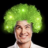 Fun Central AD151, 1 Pack LED Afro Wig, Green Wig, Light Up Hat, LED Wig for Party, Green Hat Wig, Green