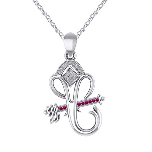 Pretty Jewels Silver 925 Flute Ganesha Blessings Pendant with Ruby & Natural Diamond,18