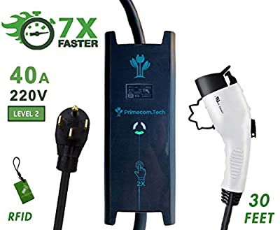 PRIMECOM 30 Feet Level 2 Electric Vehicle (EV) Charger (220/240V, 32Amp/40Amp) 32 and 40 Amp 6-50P, 10-50P, 14-50P. Delay Timer Feature