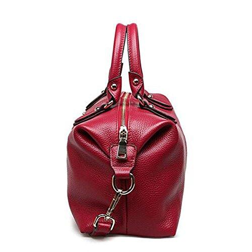 À Top Sac Bandoulière Poignée Femmes Red Élégant Véritable Multicolore Lady Sacoche Fourre Main Cuir Mode En À Sac Tout qwv4Swg