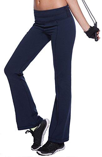 Hollywood Star Fashion Foldover Contrast Waist Bootleg Flare Yoga Pants (Small, Denim) (Fashion Flare Jean)
