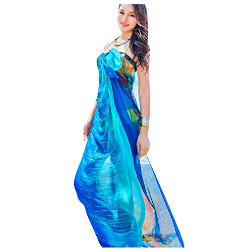 GERINLY Chiffon Sarong Wrap: Watercolor Style Blooms Lightweight Beach Shwal Scarf (Blue)