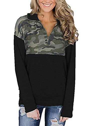 (Diukia Women's Long Sleeve Floral Print Half Zip Casual Hoodie Sweatshirt Pullover Blouse with Kangaroo Pocket(S-2XL))