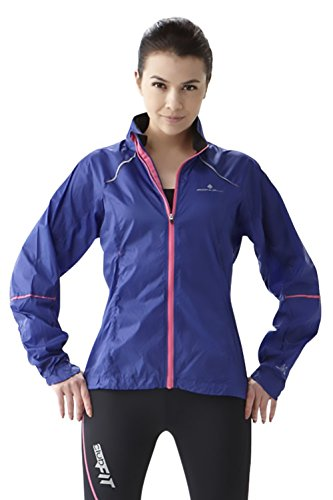Reflective Running Top (ClubFit Womens Wind Resistant Water Repellent Ultra Light Activewear Running Jacket with Light Reflective Material and Internal Earphone Loops (Royal Blue - Size L))