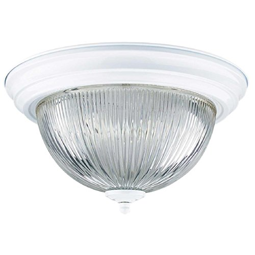 Sunset Lighting F7502-30 Flush Mount with Clear Prismatic Glass, White Finish 30 White Prismatic Glass