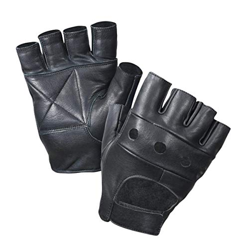 - Leather Fingerless Gloves, Padded Palms, Soft Lambskin Leather (Black, XS)