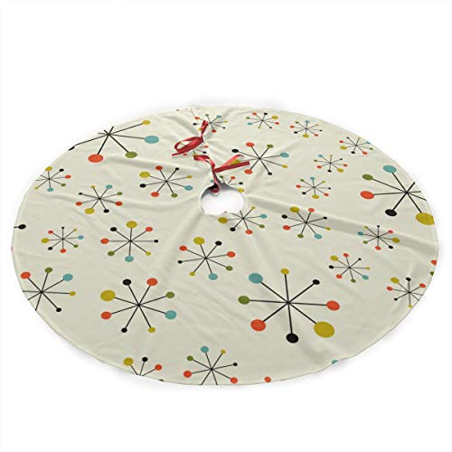 YOUNG-STYLE Retro Modern 50S 60S Traditional Christmas Tree Skirt 35.5 Inch - Holiday Party Decoration