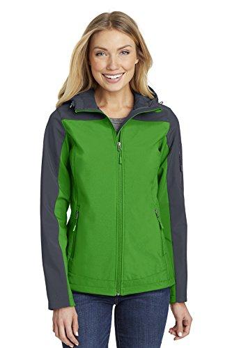 Port Authority Women's Hooded Core Soft Shell Jacket L335 Vine Green/Battleship Grey -